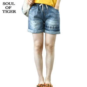SOUL OF TIGER 2020 Korean Fashion Summer Laides Embroidery Denim Trousers Womens Vintage Ripped Jeans Loose Elastic Short Pants