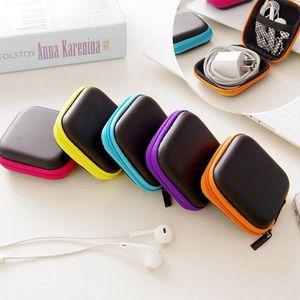 Stockage coloré sac de transport Ecouteur Rectangle Zipper Earpphone Oreillettes EVA couverture de cas pour Câble USB Key Coin libre DHL