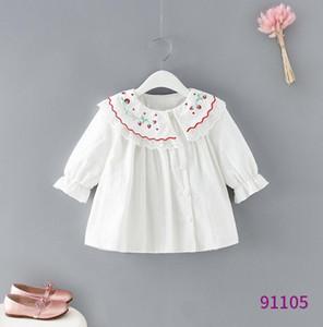 Girls shirt 2019 new children falbala collar long sleeve shirt kids cherry embroidered princess tops children cotton blouse