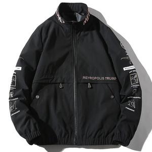 ICPANS 2019 Chaquetas de cuello alto de otoño para hombres Chaquetas sueltas de algodón negro de gran tamaño Hip Hop Streetwear Chaqueta de chándal Hombres