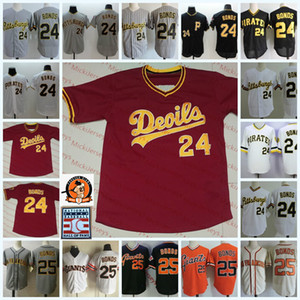 Para hombre # 24 Barry Bonds parche del Estado de Arizona Sun Devils de béisbol jersey # 25 Barry Bonds de San Francisco Retiro Pittsburgh HOF Jersey S-3XL