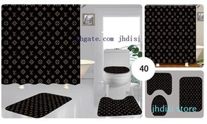 Bad Zimmer Hang Shade für Männer und Frauen Duschabtrennung Curtain Mode Vorhänge Drucken Brief Teppich 3PCS der neuen Art-01 ..