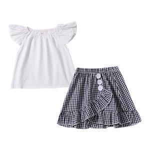 INS Neonate plaid abiti bambini Bianco Top manica volanti + reticolo Gonne a pieghe 2 pz / set 2019 Estate Boutique bambini Set di abbigliamento C5795