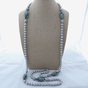 55 '' Grey Pearl black crystal pave Stone Long Necklace