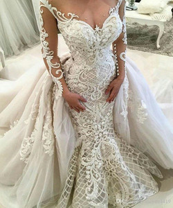 New Luxury Mermaid Wedding Dresses Sheer Jewel Neck Lace Appliques Detachable Skirt Plus Size Wedding Dress Formal Bridal Gowns 455