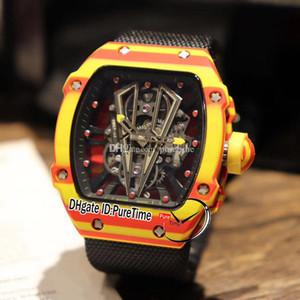 جديد RM27-03 رافائيل نادال ntpt الأصفر الأحمر ألياف الكربون البلاستيكية الهيكل العظمي الهاتفي مياوتا التلقائي الأسود النايلون حزام الساعات puretime e74a1