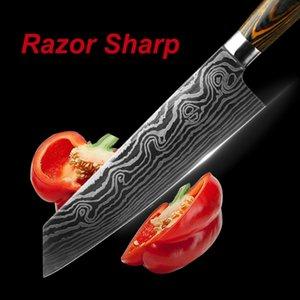 6PCS اليابانية الشيف سكين مجموعة ليزر دمشق 7CR17 الفولاذ المقاوم للصدأ المهنية Kiritsuke الفاكهة المساعدة Santoku مطبخ سكاكين