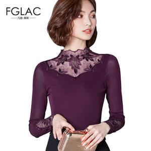 Fglac Malla Nuevo 2019 Primavera de manga larga T-shirt Moda Casual Hollow Out Lace Tops tallas grandes mujer Blusas C19041702