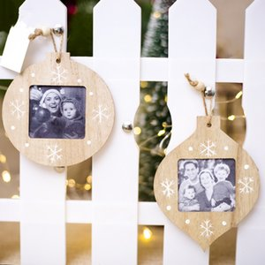 زينة عيد الميلاد DIY إطار الصورة خشبية قلادة زينة عيد الميلاد الحلي للمنازل