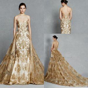 New Kelly Faetanini cor do ouro bordado trem destacáveis reais vestidos de casamento 2020 Sparkly Querida Sem Costas Dois vestido de casamento Pieces