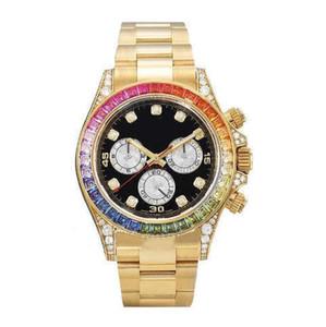 Los más solicitados serie de gama alta 116598 diamante redondo arco iris reloj de los hombres mecánicos, reloj de moda de los hombres impermeables RBOW 40MM