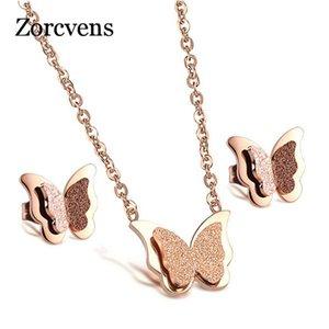 Modyle Romantic Butterfly Necklace + Pendiente Conjuntos de joyería Moda Rosa Oro-Color Acero inoxidable Accesorios de compromiso para mujeres