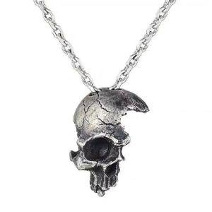 Сломанная поврежденная половина лица Череп кулон ожерелье с цепной байкер Античный серебристый цвет цепи ожерелье для мужчин Ювелирные изделия