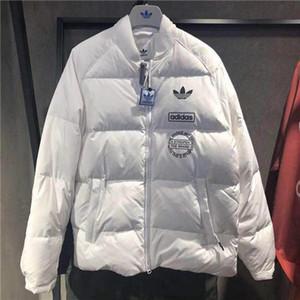 Mens chaquetas de invierno 19 Nueva marca con abrigos esquimales Abajo cazadora acolchada chaqueta gruesa Calle Sólido Blanco Negro S-2XL B100029L