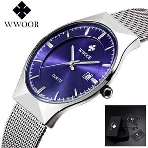 WWOOR Watch Men Luxury Ultra Thin Men Steel Quartz Watch Date 50m Waterproof Clock Male Casual Wrist Watches relogio masculino Casual