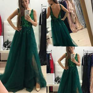 Smeraldo Verde Bright Sequins Prom Dresses Sexy V Neck Full Lunghezza Tulle Muschio Birthday Compleanno Formale Sera Party Gowns Low backless glitter ED1339