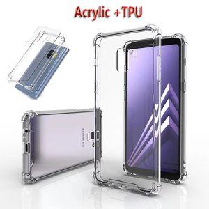Acrílico transparente + caso TPU com pára-choques claros case de telefone à prova de choque para novo iphone 12 nota 20 s10 plus a50 huawei lg