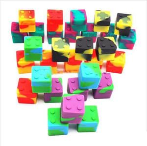 Contenitore in silicone di colore assortito da 9ml mini Cube per Dabs Contenitore in silicone di forma rotonda Daps Contenitori in silicone