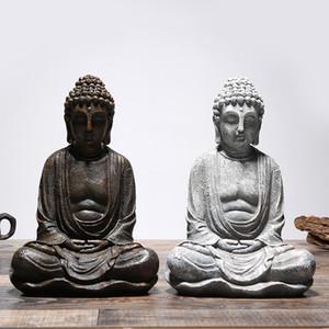 Vintage Buddha seduto Statua Zen Gesto Thai Buddha Figurine Scultura Home Office esterna della decorazione del giardino artigianato ornamenti T200331