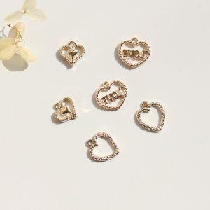 12-16MM 90Pcs / Pack Coeur KC Alliage de Couleur Or Bijoux Pendentifs Bijoux Charmes