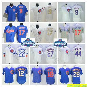 Man 2016 patch di baseball 9 Javier Baez 12 Kyle Schwarber 17 Kris Bryant 27 Addison Russell 44 Anthony Rizzo Ben Zobrist Jason Heyward maglie