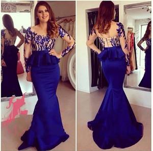 Sexy Royal Blue Soirée Robes De Sheer Col Long Formelle Robes de bal 2017 Animateur Robes De La Sirène Jewel Sleeve Péplique Party Célébrité 425