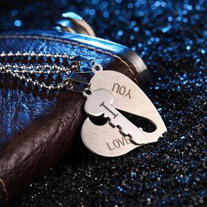 Conjunto de collares de pareja de corazones rotos Grabado Te amo Corazones a juego Joyas de lujo Collar de acero inoxidable 316L