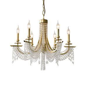 moderno lampadario portato salotto nordico sala ristorante di cristallo da letto candela dorata minimalista lampadario di cristallo 6 anello Chandelie