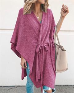 Boyun Capes Moda Renkleri Batwing Kol Hırka Cape Kayışlı Casual Yıkanma Fular Kadın Tasarımcı V