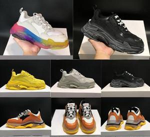 Высочайшее качество платформы спорт Тройной S Белый Черный мужской обуви черный розовый мартин крем желтый красный дешевый Женская мода повседневная обувь кроссовки