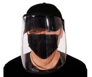 Cap máscara protectora Protección para los ojos gorra de béisbol unisex extraíble de aceite a prueba de salpicaduras anti-saliva Mascarilla Cap Negro Cubierta