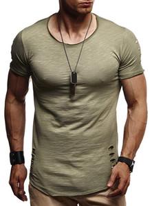 Verão Mens Buraco Sólidos T-shirts de manga curta gola Male Tees Pure cor de meninos casual tops