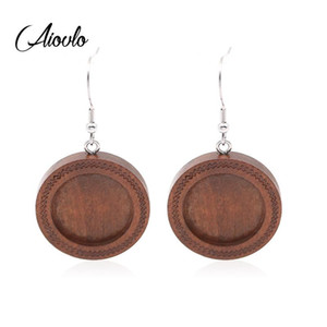 Aiovlo 10pcs / lot Brown Fit 20mm Wood Cabochon Earring Base Settings En blanco Acero inoxidable Ganchos Diy Jewelry para hacer pendientes