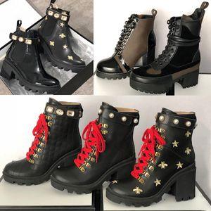 2019 Booties Frauen Laureate Platform Desert Boots Gestickte Schnürstiefeletten Martin Boots Echtes Kalbsleder Schuhe Gute Qualität mit Box US11