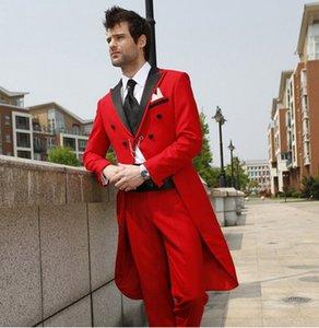 Отличный красный фрак для жениха Пальто с брюками Мужское вечернее платье Блейзер Офисные деловые костюмы (куртка + брюки + галстук + пояс) J895