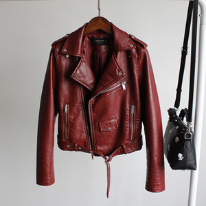 2020 New Autumn Women's Short Faux Leather Jacket Female Zipper Ladies Basic Street Leather Coat Motorbike Jackets Women