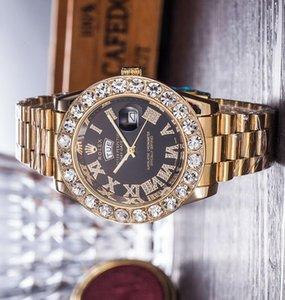 Super Gift mens luxury Day-Date Big diamond mens womens sport wristwatch steel band sport waterproof Relogio quartz watch lovers