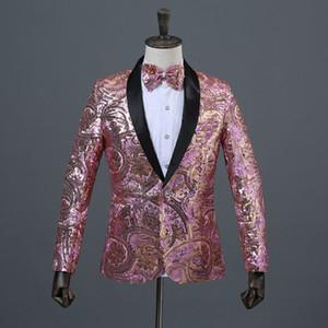Mens Designer Paillettes Blazer Night Club DJ Capispalla uomo Casual Abbigliamento slim da uomo con monopetto