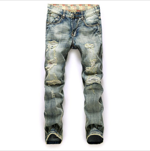 Jeans Agujero Nostálgico Comercio hombres de más tela deshilachados de Bandera Roja para hombre Pantalones de mezclilla Enfriar Jean Hombre Pantalones largos