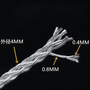Oi-Fi 7N OCC prata banhado 8 núcleos fios granel fone diy Amplificador de áudio de CD Leitor de DVD Telefone cabos dos auscultadores