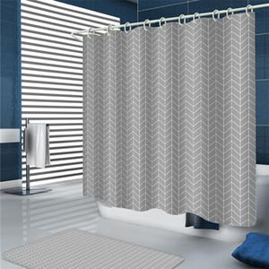Mildew Proof Duschvorhänge Bad Thicked Geometrische Klassische Grau Sea Wave Thicked Badezimmer Sets Duschvorhang