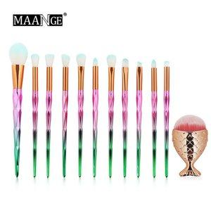MAANGE 12PCS Diamond Handle Makeup Brush and Mermaid Foundation Brush Set Make up Brushes Set Professional Foundation Blush Eyeshadow DHL