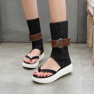 Été filles romaines Sandales Denim cheville Gladiator femmes Bottes plates talon courtes vacances Black Girls Chaussures Casual Taille 33-43 Livraison gratuite
