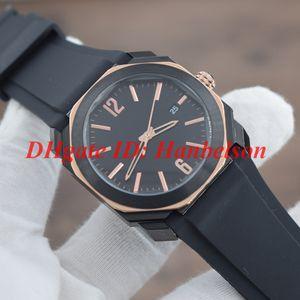 Novo 103085 OCTO Homens Relógios De Pulso Two-tone Preto em aço inoxidável PVD caso Movimento de quartzo Três mãos Esportes elástico Assista 42mm atacado
