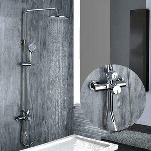 Sistema de torneira do chuveiro de bronze do cromo do banheiro frio e quente três funções torneira do misturador do chuveiro com barra de corrediça fixada na parede da tomada