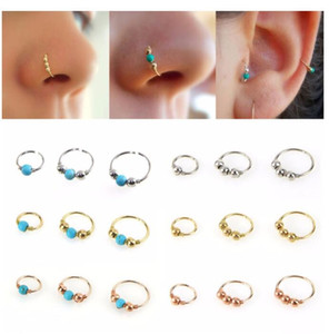 Fashion Retro Round Beaded Nose Ring Nostril Hoop Body Piercing Jewelry Septum Clicker Nose Ring Lip Tragus Piercing