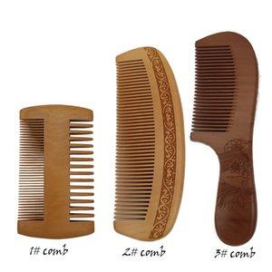 Vosaidi peine de madera para desenredar melocotón Woodcomb de pelo recto Sin estática peine de bolsillo peine para el pelo rizado