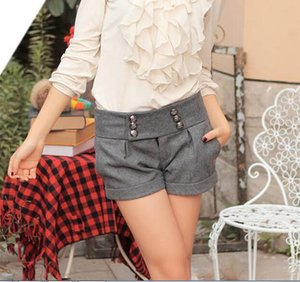 Wholesale- Fall Winter New Women's Products Double-breasted Woolen Boots Shorts