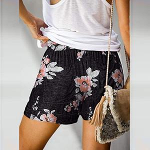 Mulheres Floral Womens Shorts Imprimir Elastic cintura solta Shorts Verão senhoras Comfy Cordão Pockets Casual impressão Shorts