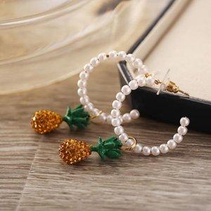 cristal à la mode pendentif ananas jaune cerceau perle boucles d'oreilles bijoux pour femmes accessoires Aretes boucle d'oreille d'été balancent